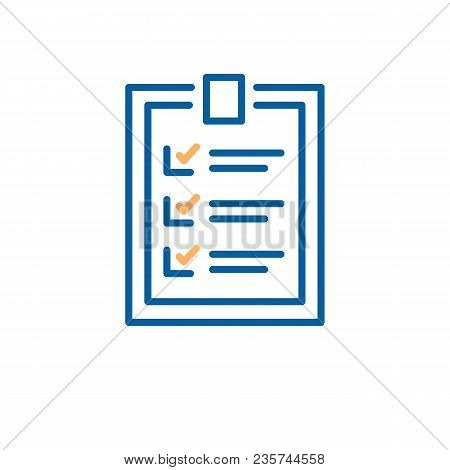 Completed Checklist Design. Vector Thin Line Illustration For Business, Personal And Education Goals