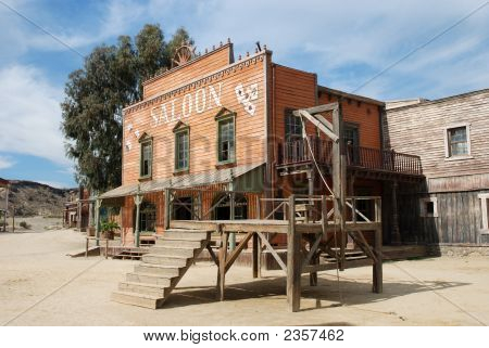 Gallow And Saloon In An Old American Town