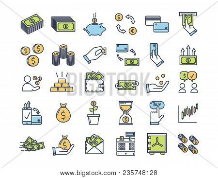 Money And Finance Icons. Vector Thin Outline Pictograms With Flat Color Related With Payment Methods