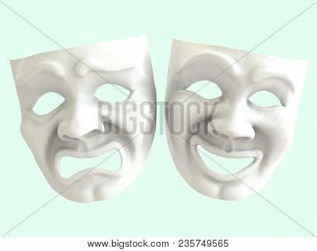 White Theatrical Masks Depicting Emotions. 3d Render