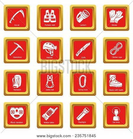Speleology Equipment Icons Set Vector Red Square Isolated On White Background