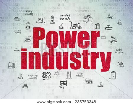 Industry Concept: Painted Red Text Power Industry On Digital Data Paper Background With  Hand Drawn