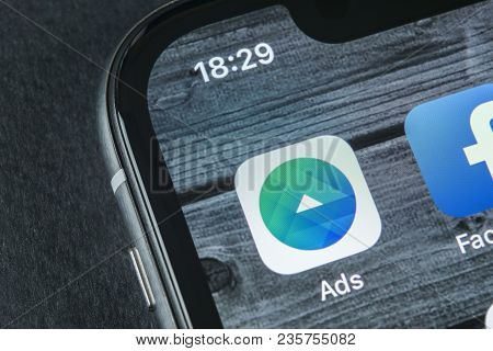 Sankt-petersburg, Russia, April 12, 2018: Facebook Ads Application Icon On Apple Iphone X Screen Clo