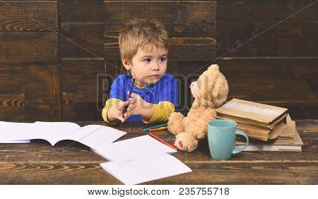 Worry Student Have Problem With Mathematics. Good Teacher Enjoys Teaching. Academic Success Much Mor