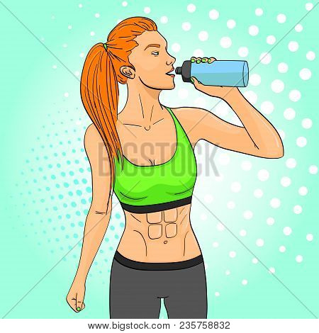 Sport Girl Pop Art Retro Vector Illustration. Comic Book Style Imitation. In Sports Clothes Drinks W