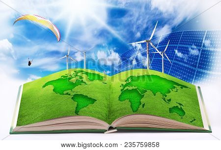 Earth Image Illustrated In An Open Book On A Background Of Clean Energy