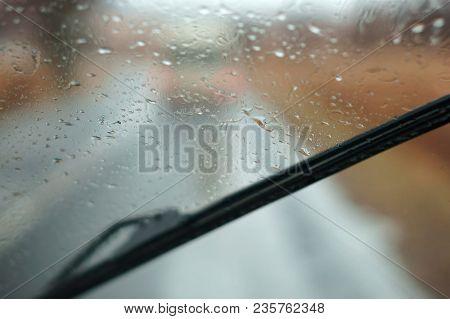 Rain On Glass, Drive On Highway In Heavy Rain, Raindrops On Car Glass, Wet Asphalt