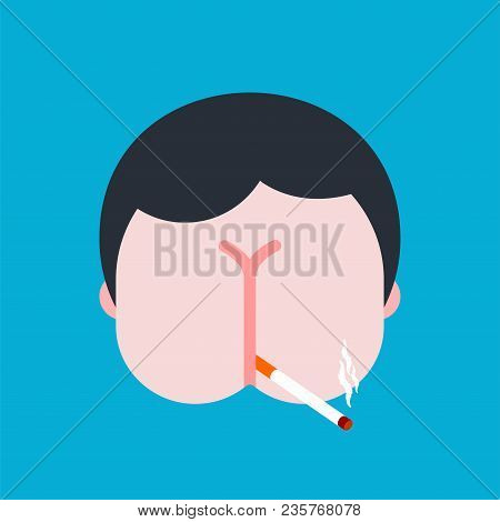 Ass For Face. Asshole Man. Vector Illustration