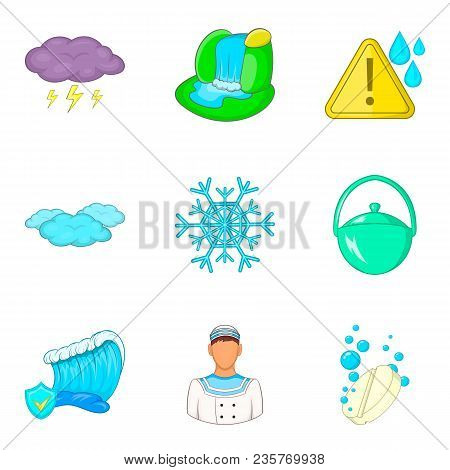 Water Reservoir Icons Set. Cartoon Set Of 9 Water Reservoir Vector Icons For Web Isolated On White B
