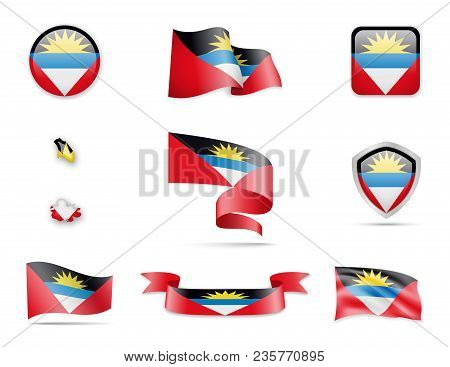 Antigua And Barbuda Flags Collection. Flags And Contour Map. Vector Illustration