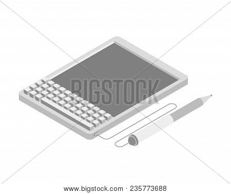 Electronic Signature Tablet. Props Of Electronic Document. Isometric Style