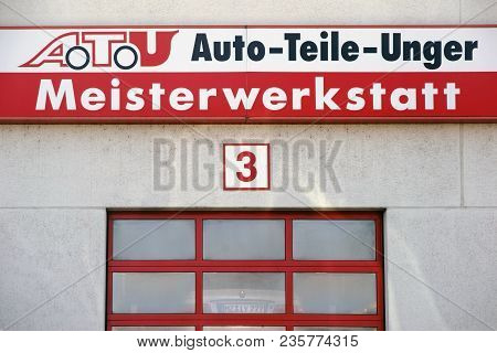 Mainz, Germany - April 06: The Company Sign Of The Garage And Tire Changer Atu Auto Parts Unger, Abo