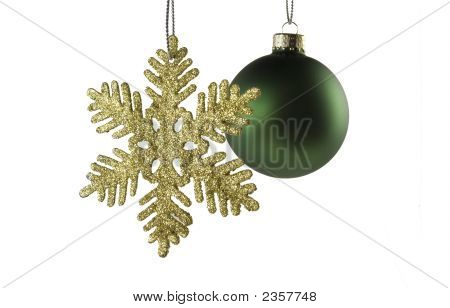 Golden Star With Green Sphere