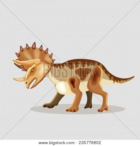 Vector Cartoon  Illustration Of A Dinosaur.  Triceratops.