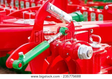 Detail And Part Of Industrial Hydraulic Or Pneumatic Machinery, Piston Or Actuator, Engineering And