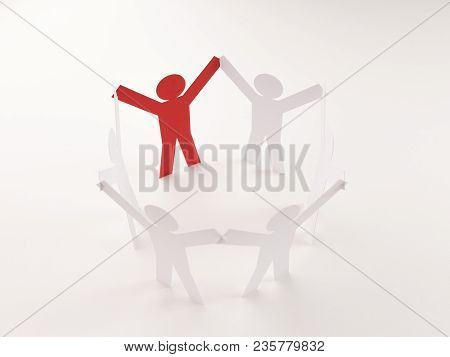 Closed Joining Of Six Paper Figure With Red One In Hand Up Posture On Bright White Background. In Co