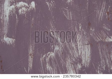Texture Of A Poorly Painted Wall Of Purple. Inaccurate Brush Strokes