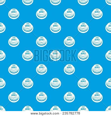 Fast Money Button Pattern Vector Seamless Blue Repeat For Any Use