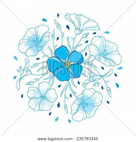 Vector Round Bouquet With Outline Flax Plant Or Linseed Or Linum Flower, Bud And Leaf In Pastel Blue
