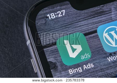 Sankt-petersburg, Russia, April 12, 2018: Bing Application Icon On Apple Iphone X Screen Close-up. B