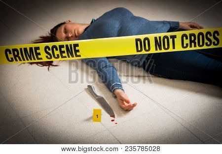 A Crime Scene With A Woman Dead