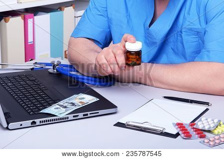 Medical Concept - Health Price. Dollars With Assorted Pills, Cardiogram Rx And Stethoscope