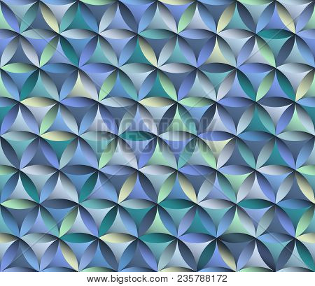 Flower Of Life Seamless Pattern In Blue Colours