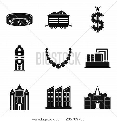 Material Wealth Icons Set. Simple Set Of 9 Material Wealth Vector Icons For Web Isolated On White Ba