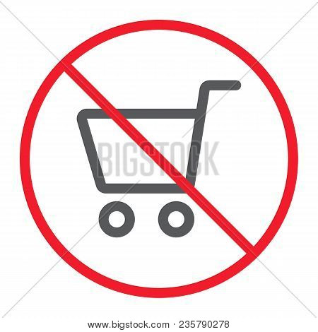 No Shopping Line Icon, Prohibition And Forbidden, No Store Sign Vector Graphics, A Linear Pattern On
