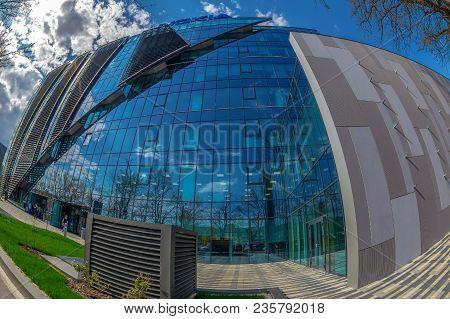 Timisoara, Romania - April  10, 2018: Wide Angle Shot Of Futuristic Nokia Office Building In Timisoa