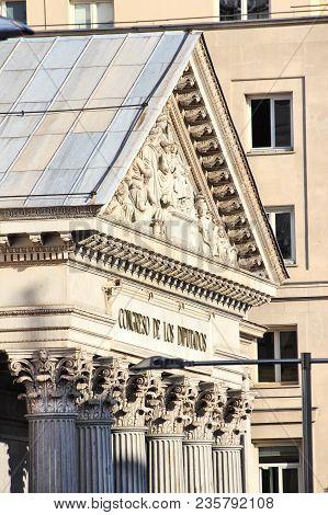 Madrid, Spain. Parliament Building - National Congress Of Deputies.