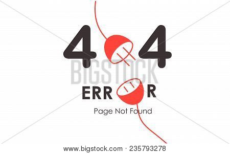404 Error Page Not Found Vector Red Plug Graphic Background