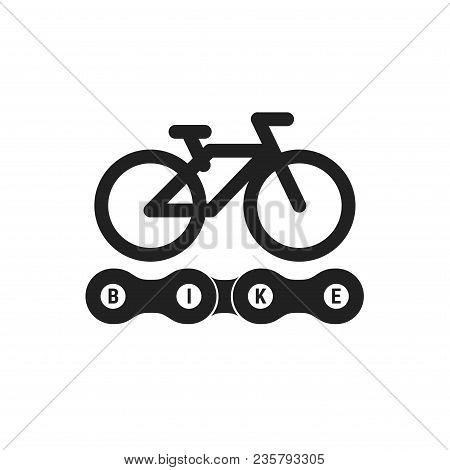 Bike Club Vector Emblem. Black Monochrome Bike Icon. Bicycle Path Sign, Symbol. Bike Chain Vector Li