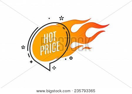 Flat Linear Promotion Fire Banner, Price Tag, Hot Sale, Offer, Price. Vector Illustration