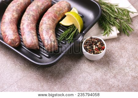 Raw Homemade Sausages With Rosemary And Lime