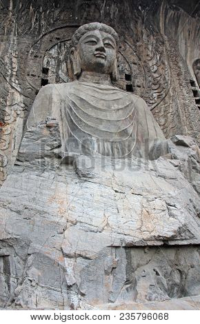 Picture Taken In China. Biggest Buddha Statue At The Longmen Grottoes ( Dragon's Gate Grottoes) Or L