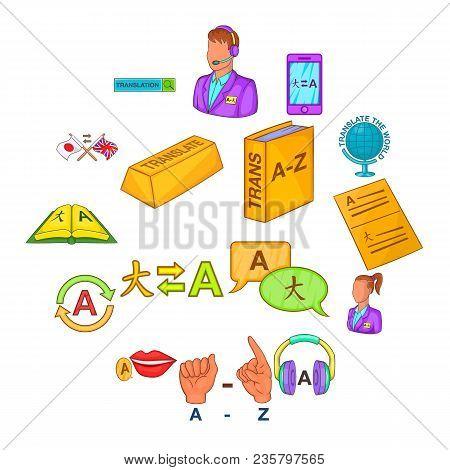 Translator Icons Set In Cartoon Style. Language Interpreter Set Collection Vector Illustration