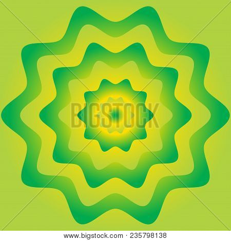 Colorful Flower Wheel Gradient Background. Green And Yellow Color.
