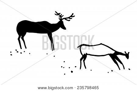 Primitive Animals. Stylization. Two Hoofed Animals. A Deer And A Female Deer. Vector. Isolated On Wh