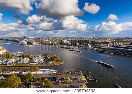 Amsterdam, Netherlands - April, 2017: Aerial View Of Amsterdam City, Holland