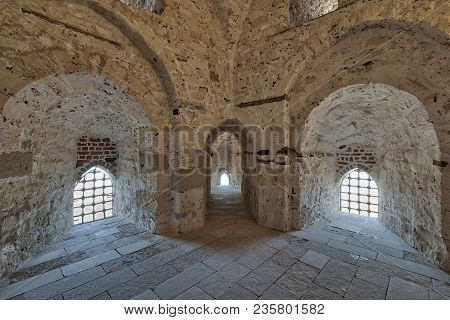 Three Arches Leading To Windows On Brick Stone Wall Of A Passage Surrounding The Citadel Of Qaitbay,
