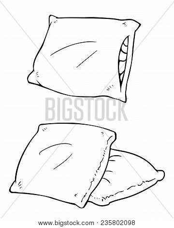 Cartoon Vector Pillows. Illustration Of Single And Couple Square Pillows Isolated On White