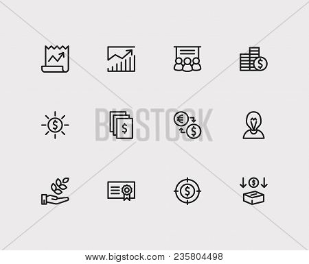 Investment Icons Set. Investment Target And Investment Icons With Investment Services, Income And Ag