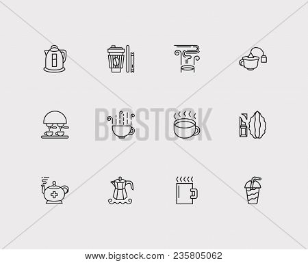 Tea Icons Set. Paper Cup And Tea Icons With Espresso, Electric Kettle And Tea Bag Cup. Set Of Elemen