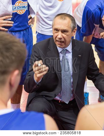 Samara, Russia - December 07: Bc Azovmash Head Coach Sergiy Zavalin During A Timeout Of The Bc Krasn