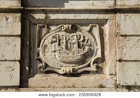 Right Low Relief Panel Of Kings Fountain Monument (chafariz Del Rei) Portraying A Ship. The Kings Fo