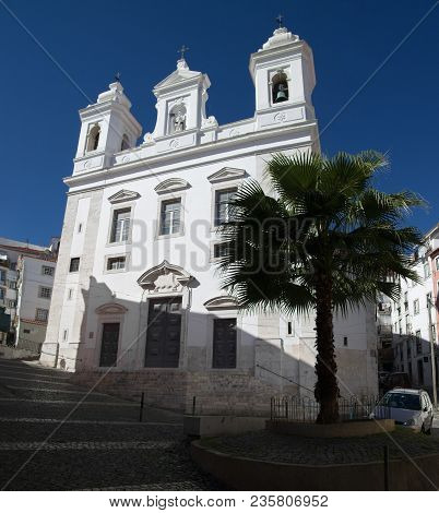 San Miguel Church Behind A Palm Tree And Cobblestone Streets In Alfama Disctrict, The Most Famous An
