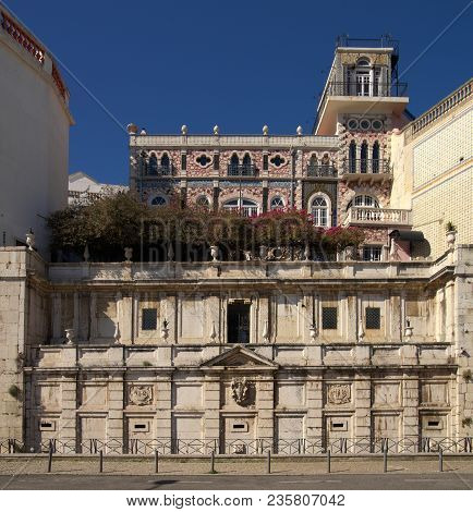 Frontal View Of Kings Fountain Monument (chafariz Del Rei) In Alfama Disctrict, Built In The Xiii Ce