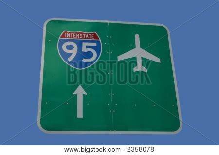 Interstate 95 And Airport Sign
