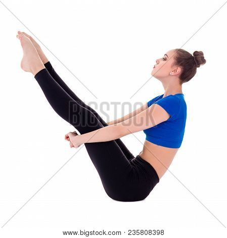 Young Woman Doing Fitness Exercises Over White Background